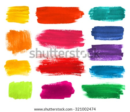 Color hand drawn watercolor brushstrokes banners collection. - stock photo