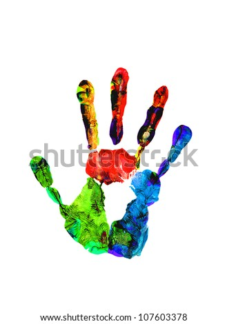 Color hand prints isolated on white - stock photo