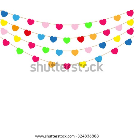 Color heart flags banner white background illustration