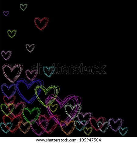 color hearts - stock photo