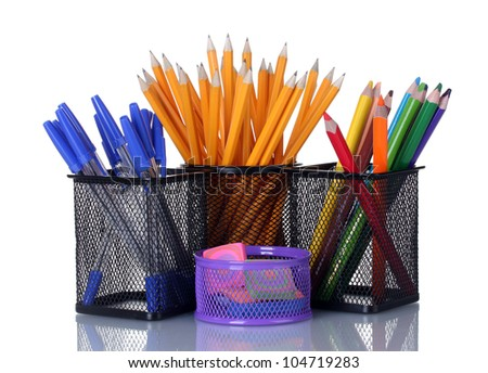 Color  holders for office supplies with them isolated on white