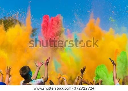 Color holi festival - stock photo