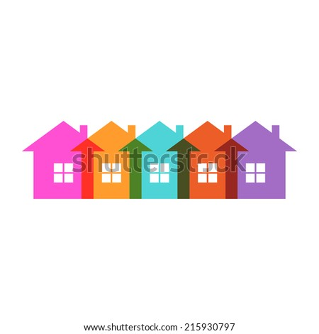 Color house icon. Group of cottages. Simple sign of real estate. Illustration for print, web