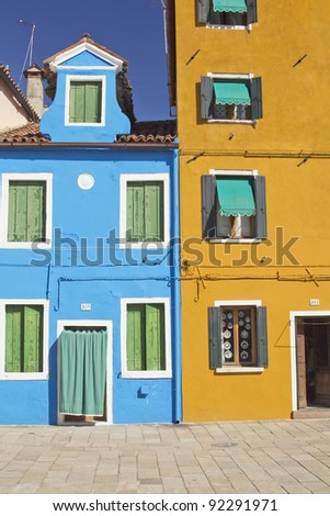 Color houses in Venice island Burano (Italy)