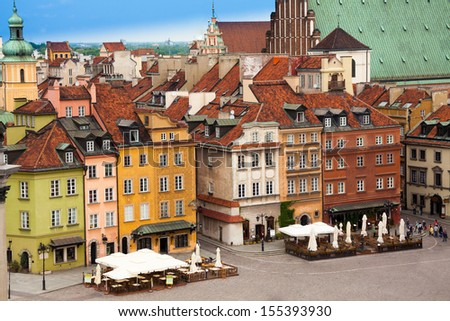 Color houses on Castle square in Warsaw, capital of Poland - stock photo