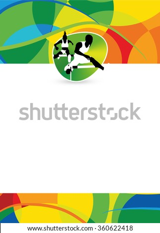 Color hurdles running sport flyer or poster background with empty space. The character is a 3D rendered model, no real person.