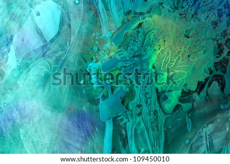 Color ice storm Description: Colors and water on the glass - stock photo