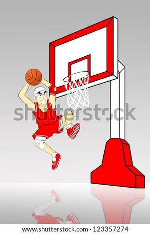 Color illustration. Basketball player throws the ball in the basket - stock photo