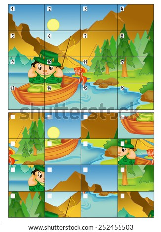 color illustration of a game in which reconstruct the image numbering the correct boxes