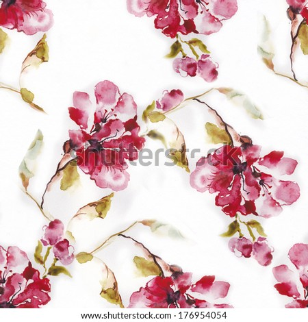 """Color illustration of flowers in watercolor paintings. Album """"Seamless water color with the backgrounds."""" - stock photo"""