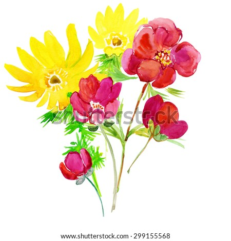 Color illustration of flowers in watercolor paintings.  Bright exotic bouquet from flowers , drawn with watercolor paints. - stock photo