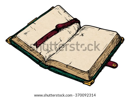 color illustration of opened old book.
