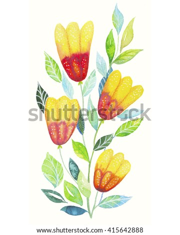 Color illustration of yellow flowers in watercolor paintings - stock photo