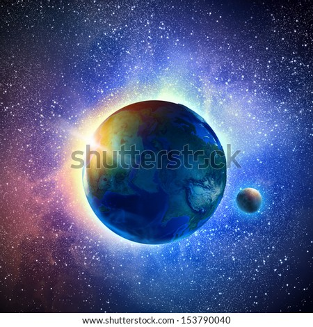 Color image of earth planet in space - stock photo