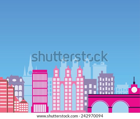 Color image of the city silhouette - stock photo