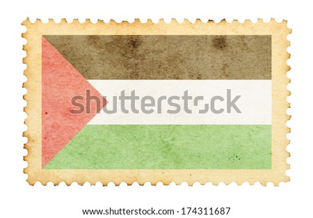 Color ink stain mark of Palestine flag on an old retro brown paper postage stamp.