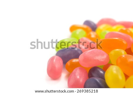color Jelly Beans on white background - stock photo