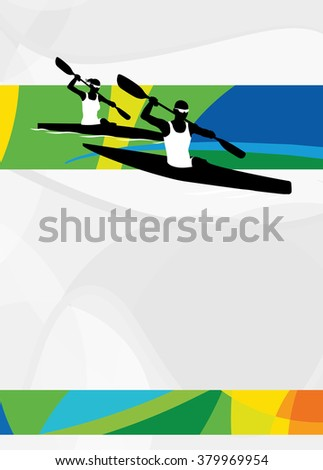 Color kayak sport flyer or poster background with empty space.  - stock photo
