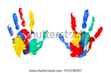 Color kids hands on white background