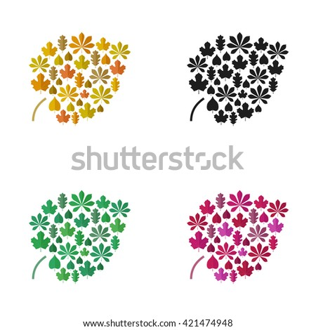 Color leaves concept. Icons of leaves in flat style. Raster version - stock photo