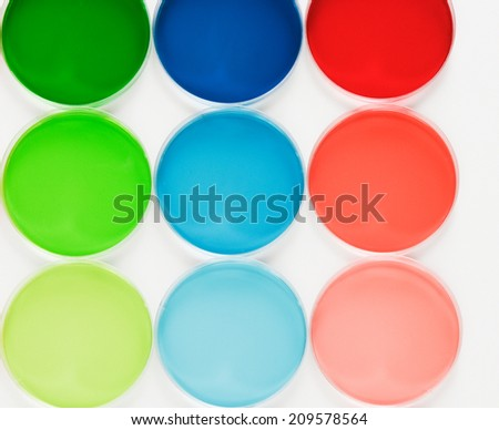 color liquid in dishes - stock photo