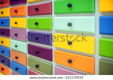 color lockers with handles closeup - stock photo