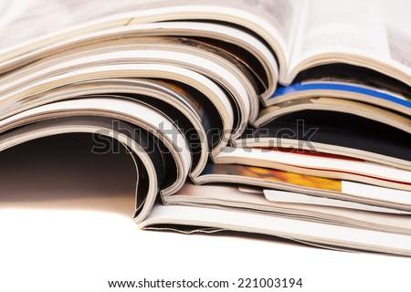 Color magazines isolated on white background  - stock photo