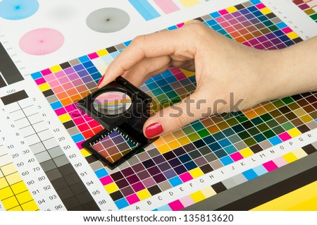 Color management and quality control  in print production - stock photo