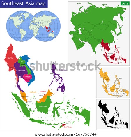 Color map of Southeastern Asia divided by the countries - stock photo