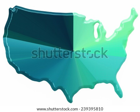 Color map of USA in 3d style - stock photo