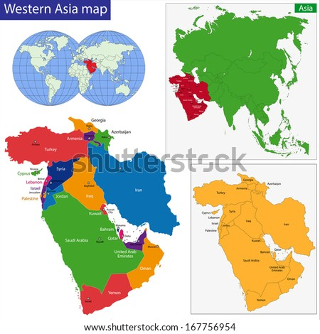 Color map of Western Asia divided by the countries - stock photo