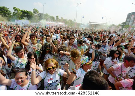 Color Me Run in HANOI, VIETNAM with a thousand young people on may 28th, 2016. In Vietnam, Color Run is a series of events were held at the HO CHI MINH City, DA NANG city and HANOI.