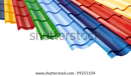 Color Metal Roof Tile  background - stock photo
