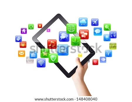 Color mobile applications forming infinity swirl around pad/tablet pc in hand, isolated on white, clipping path - stock photo