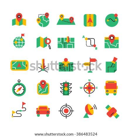Color Navigation Icons Set - stock photo