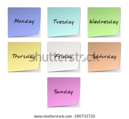 Color Notes With Handwritten Weekdays in English - stock photo