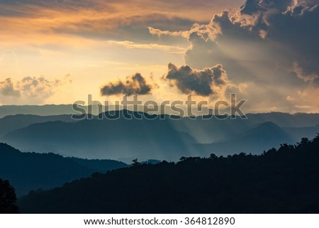 Color of  autumn sunrise over the smoky mountains - stock photo
