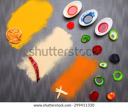 Color of food on background. - stock photo