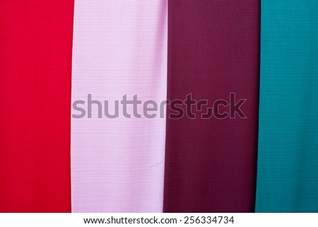 Color of the cloth woven by hand from Laos are simple, not flashy.. - stock photo
