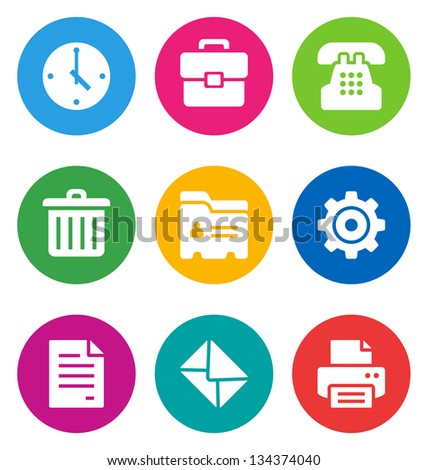 color office icons isolated on white