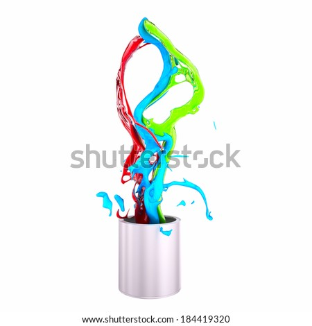 Color paint pouring from can - Stock Image - stock photo