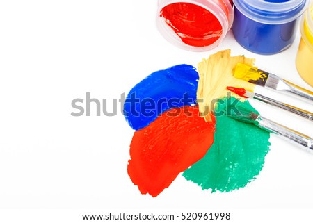 Color paint strokes with brushes isolated on white, vector illustration