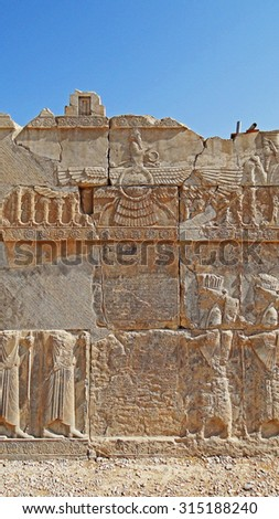Color Painting Ancient Structural Ruins with Ancient Persian Inscriptions and Bas Relief Sculpture in Persepolis, Iran on Sandstone Texture - stock photo