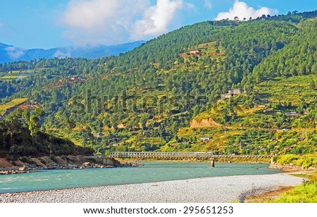 Color Painting Beautiful Scenery Bhutanese Rural Village Landscape in Summer on Sandstone Texture