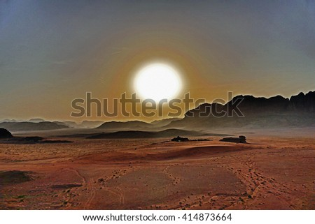 Color Painting Beautiful Scenery Scenic Landscape Colorful Sunset in Wadi Rum Desert, Jordan on Sandstone Texture