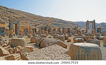 Color Painting Ruins of Ancient Persian Palace and Sacred Stone Temple in Persepolis, Iran on Sandstone Texture - stock photo