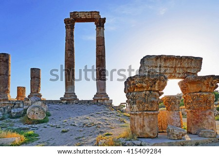 Color Painting Ruins of The Amman Citadel Before Sunset on Sandstone Texture - stock photo