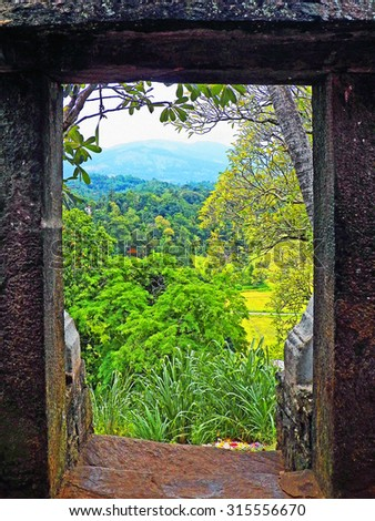 Color Painting Scenic Beautiful Summer Forest View Through Old Stone Temple Door in Kandy, Sri Lanka on Sandstone Texture