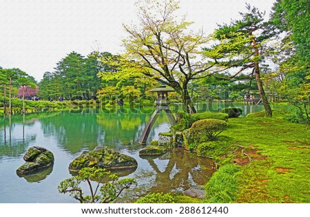 Color Painting Scenic Scenery Beautiful Japanese Garden Landscape at Kenrokuen in Kanazawa, Japan on Canvas Texture