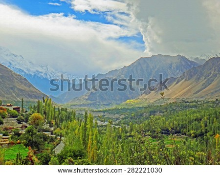 Color Paintings Hunza Valley of Karakoram Highway Mountain Range in Spring on Canvas Texture